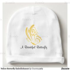 Yellow Butterfly Embellishment Baby Beanie