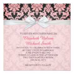 Elegant Ribbon Blushing Damask Wedding Invite