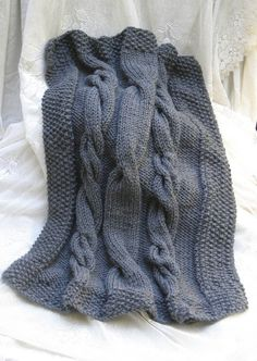 gray cable knit baby blanket by knitternicole on Etsy