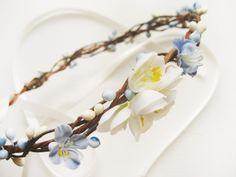 Flower Crown Floral Crown Bridal Headpiece Blue by NoonOnTheMoon, $35.00