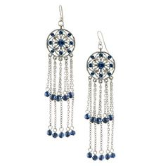 """Get your dancing shoes on along with these Anastasia Tassel Earrings and you'll be set for your next night out on the town! Perfect for parties, these fun flirty earrings fall to a fabulous 3"""" long and sway and move as you do. A silver tone round medallion is stamped with a filigree pattern and decorated with petite Montana blue crystals. Dangling below are two tiers of dainty chains with navy blue beads at their ends, creating a tassel effect."""