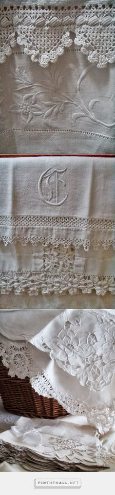 Vintage Bathroom Linens. Monogram, hemstitching and a sumptuous variety of lace in one towel holder: crochet, tatting, rick rack braid, whitework and Richelieu embroidery