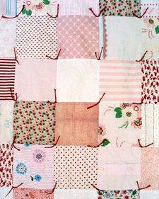 I really want to do this with Bailey's old clothes!! Making a quilt out of the old stuff, how cute!