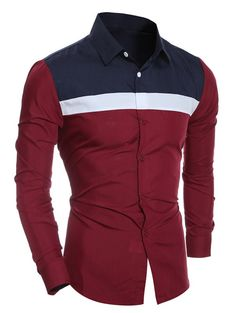 Turn-Down Collar Color Block Splicing Shirt #women, #men, #hats, #watches, #belts, #fashion