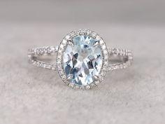 8x10mm Oval Natural Aquamarine Ring!Diamond Engagement ring 14 White gold,Bridal,Halo Split Shank,Blue Stone Gemstone Promise,wedding band by popRing on Etsy