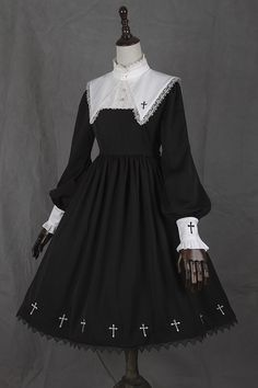 --> Pre-order: Ista Mori [-✙-Nameless Poem-✙-] Lolita OP Dress --> [-★-One of the most popular Lolita dresses from indie Taobao brands-★-] --> Shop it here >>> http://my-lolita-dress.com/long-sleeves-cross-embroidery-black-lolita-op-dress-im-7