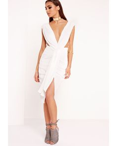 Missguided | Peace + Love Pleat Ruched Front Midi Dress White | Lyst
