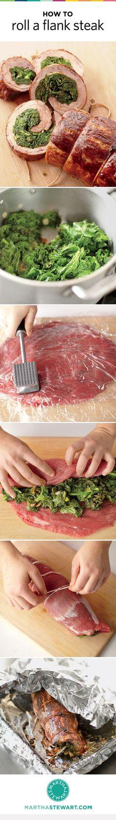 Learn how to make an impressive (but easy) Rolled Stuffed Flank Steak.