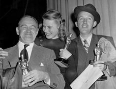 """1945 Oscars: Barry Fitzgerald, Best Supporting Actor for """"Going My Way"""" (1944); Ingrid Bergman, Best Actress for """"Gaslight"""" (1944); Bing Crosby, Best Actor for """"Going My Way"""" (1944)"""