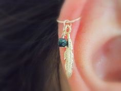 gold Cartilage Earringfeather leaf hoop gold by sofisjewelryshop