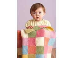 Image of Patchwork Garter Baby Throw - this is knit, but could do similar  with single or double crochet squares. colors (Lion Brand Baby Wool -  colors ... 2ba55d8b7fe