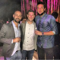 Marco Belinelli, Umberto Belinelli, and some guy in the middle at Michael Jordan's 51st birthday party