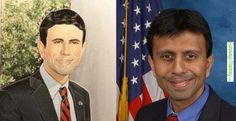 Funny Memes - [They forgot the brown in Bobby Jindal's official portrait.] Check more at http://www.funniestmemes.com/funny-memes-they-forgot-the-brown-in-bobby-jindals-official-portrait/