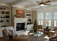 Family room with painted built ins
