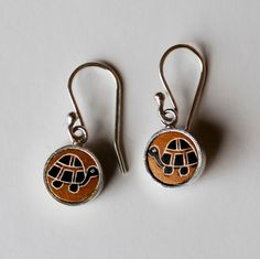 Turtle Carved Gourd and Sterling Silver Earrings