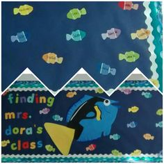 Finding Dory theme classroom display. Paint chip fish cutouts.