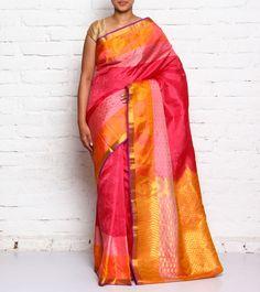 #Pink Zari Work #Kanchipuram Silk #Saree by #Kanjivaram #Silks at #Indianroots