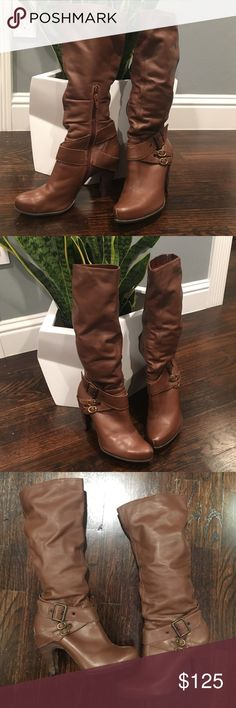 Saddle color Bronx boots Sz 37 Bronx Zari Almond toe mid calf boot in Saddle color. Super comfy you could run around in these all day!!! Made in Brazil. Bronx Shoes Combat & Moto Boots