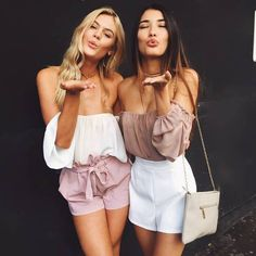 Best Friends Matching Reversed Outfits Summer Spring Festival Inspired White And Dusty Rose Pink Off The Shoulder Crop Top And Pastel Pink And White High Waisted Tie Mini Shorts Tumblr