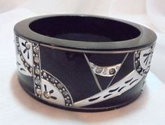 "Resin Black, Silver, Clear Rhinestone Bangle Anita Stern ""This N That"" NYC #Unbranded #Bangle"