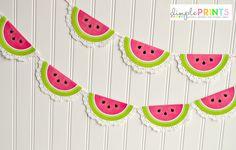 June or summer school- DimplePrints Watermelon Doily Garland Free Printable on iheartnaptime.com