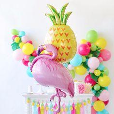 Flamingo + Pineapple Foil Balloons
