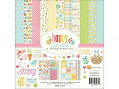 """Echo Park Happy Easter Collection Kit- Includes twelve 12""""x 12"""" double sided cardstock sheets, an element and an alphabet sticker sheet. Designs include eggs, carrots, bunnies, flowers, hearts, and captions of """"Family"""", """"Chocolate"""", """"Cute"""", and more. Colors Include Pink, Red, Orange, Yellow, Green, Teal, Aqua, White, and Brown."""