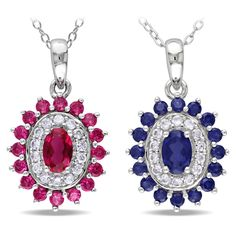 MIadora Sterling Silver Created Ruby or Sapphire Necklace - Overstock Shopping - Top Rated Miadora Gemstone Necklaces $48