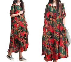 New Women Retro Folk Style Dress/ Round Neck Half by KoshFashion