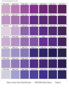Failsafe boudoir colours. Purples. By Pantone.