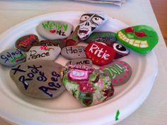 Hand painted beach stones Beach Stones, Hand Painted, Sugar, Cookies, Desserts, Food, Crack Crackers, Tailgate Desserts, Deserts