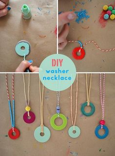 DIY Washer Necklace. Paint a washer with nail polish and then hang on Baker's Twine. Girls will love making these.