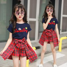 Cheap Clothing Sets, Buy Directly from China Suppliers:girls summer sets 2018 new children clothing top short sleeve letter printed tshirt+red plaid skirt pants 2 pcs girls tracksuits Teenage Girl Outfits, Girls Summer Outfits, Girls Fashion Clothes, Cute Girl Outfits, Baby Girl Dresses, Baby Girl Fashion, Summer Girls, Kids Outfits, Kids Fashion