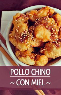 Receta de pollo con miel estilo chino. Delicioso plato de pechuga de sabor único. Asian Recipes, Ethnic Recipes, Tasty, Yummy Food, Chipotle, Chinese Food, Chicken Wings, Sushi, Recipies