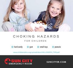 This Halloween, protect your children from easily avoidable accidents. If you notice your child having trouble breathing or choking, rush them immediately to Sun City Emergency Room!  www.suncityer.com |#Halloween #ChokingHazards Sun City East: 915.206.5254 | Sun City West: 915.600.6894 Pediatric Urgent Care, Sun City West, Pediatrics, Your Child, Halloween, Children, Room, Young Children, Bedroom