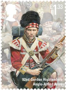 Stamp: Gordon Highlanders (United Kingdom of Great Britain & Northern Ireland) (Bicentenary of the Battle of Waterloo issue)) Mi:GB 3933 Uk Stamps, Postage Stamps, Military Art, Military History, Military Uniforms, Larp, Battle Of Waterloo, Celtic Culture, Highlanders