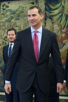 Prince Felipe of Spain attends several audiences at the Zarzuela Palace on April 25, 2014 in Madrid, Spain.