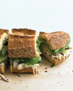 Chicken and Marinated-Zucchini Sandwich | Marinate thin ribbons of zucchini and red onion in lemon juice, lemon zest, and olive oil to make a creative sandwich topping. Cooked, shredded chicken (broil chicken cutlets or use leftovers) is mixed with the marinated zucchini, toasted almonds, and fresh parsley before being piled on Italian bread.