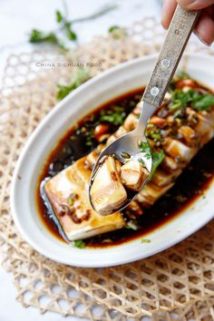 steamed tofu with soy sauce dressing Asian Tofu Recipes, Vegetarian Recipes, Cooking Recipes, Healthy Recipes, Japanese Tofu Recipes, Silken Tofu Recipes, Cooking Tips, Steam Recipes, Steam Food Recipe
