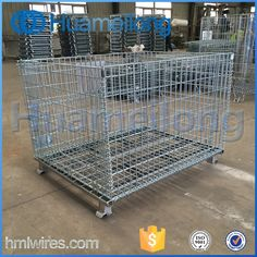 Industrial stackable collapsible foldable steel forklift metal cage