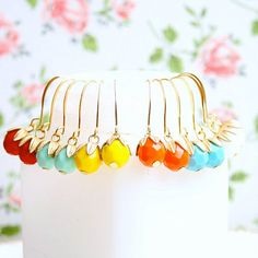 Colorful Dangle Earrings by NestPrettyThingsShop on Etsy