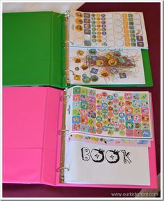 Good idea so things don't fall to floor. Travel  activity binder for kids - possibility for when we go on a plane with our 2.5 year old!