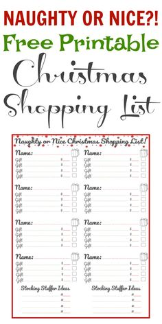 This Christmas Shopping list has a spot for each special person, whether on your naughty or nice list! Christmas Shopping List, Christmas Gift List, Christmas On A Budget, Christmas Post, Family Christmas, Christmas Ideas, Merry Christmas, Holiday Ideas, Xmas