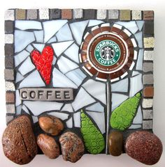 'Coffee Lover' (Mixed Media Recycled Coffee Cap Mosaic)