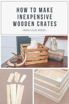Mar 9 2020 - How to Make Inexpensive Wooden Crates Maria Louise Design - Looking for quick and easy storage options? Diy Décoration, Easy Diy, Palette Diy, Diy Bathroom, Bathroom Storage, Kitchen Storage, Diy Holz, Wood Crates, Wood Crate Diy