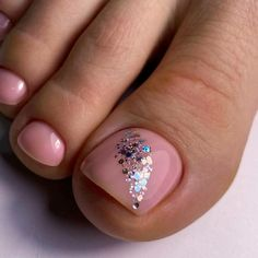 Glitter Toe Nails, Gel Toe Nails, Feet Nails, Toe Nail Art, Gel Toes, Diy Nails, Glitter Pedicure, Pink Toe Nails, Gel Nail