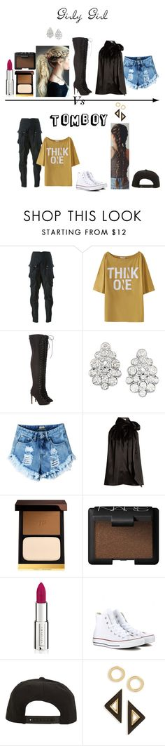 """""""Girly Girl -Vs- Tomboy"""" by mya-zari ❤ liked on Polyvore featuring Faith Connexion, Carolee, Yves Saint Laurent, Tom Ford, NARS Cosmetics, Givenchy, Converse, Roark and Topshop"""