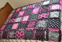Full RAG QUILT in Hot Pink and Black with by avisiontoremember
