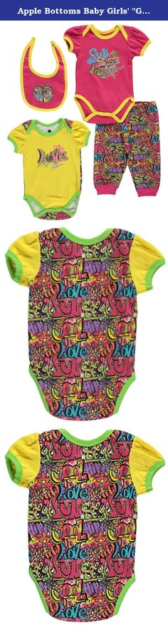 """Apple Bottoms Baby Girls' """"Graffiti Style"""" 4-Piece Set - fuchsia/multi, 6 - 9. She'll love the soft jersey comfort and cool style of this Apple Bottoms 4-piece set! Apple Bottoms 4-piece set Short-sleeved bodysuit with glitter print (100% cotton) Short-sleeved bodysuit with glitter graphic (100% cotton) Joggers with elastic waistband and graffiti print (100% cotton) Bib with graffiti graphic (100% cotton) Machine wash warm, inside out Imported."""