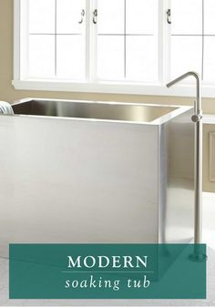 The unique design of this modern soaking tub will make it a bathroom focal point. Place it in a contemporary space with a sleek tub faucet to complete the look.